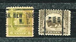 30c &,18c..1922/25  Precancel  NEW YORK CITY ( 2  Diff. Types) - United States