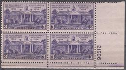 UNITED STATES     SCOTT NO. 835     MNH     YEAR  1938   PLATE BLOCK