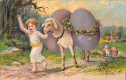 JOYEUSES PAQUES / ENFANT AVEC AGNEAU ET OEUFS / CARTE GAUFREE - Pâques