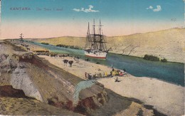 CPA EL QANTARA (Egypte). The Suez Canal, Goélette, Chameau ...E456