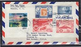 Registered 1960 Nice Franking Manila > Trenton USA - Filippijnen