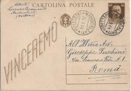 ITALIA Regno - Vittorio Emanuele III - VINCEREMO - Viaggiata MANOCALZATI ( AV ) - 1900-44 Vittorio Emanuele III