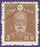 Japan 1945. Sakura #249. 2nd SHOWA SERIES. 3s Light Brown. General Maresuke Nogi. Perf. 13. (Used)