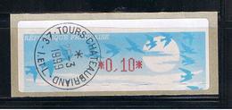 ATM, LISA1, VARIETE MAJEURE D' IMPRESSION, 0.10, Oblitéré Tours 26/03/1999, Papier Jubert Bleu Turquoise