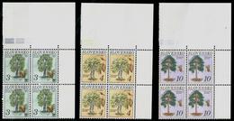 018-SLOVAKIA FLORA Naturschutz-Nature Conservation (No 7-9) Bäume-Trees Vierblock-block Of Four Ungebraucht-unused 1993 - Alberi