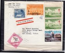 Kaarawan Overprint 1961 & Roosevelt, Tuberculosis On Cover > Trenton USA - Filippijnen