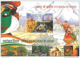 Miniature Sheet Of Tourism In India 2016,Camels,Taj Mahal, Lotus Temple, Qutab Minar,Elephant, Tiger, Peacock