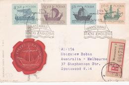 Poland 1963 Ships On Registered Letter Sent To Australia