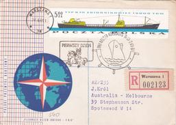 Poland 1966 Ships 5.60 Zl On Registered Letter Sent To Australia