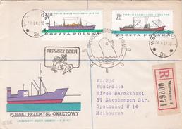 Poland 1966 Ships On Registered Letter Sent To Australia