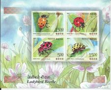 India  Ladybird Beetle  Miniature Sheet, Set Of 4 Stamps, Insects, Coccinellidae, MNH,As Per Scan