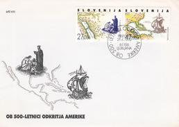 Slovenia 1992 500th Anniversary Of Columbus FDC - Slovenia