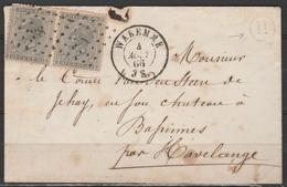 """LSC Affr. N°17 En Paire Lpts 38 Càd """"WAREMME/4 AOUT/1866"""" Pour HAVELANGE + Boîte """"R"""" (Celles-lez-Waremme)"""