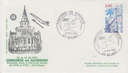 Enveloppe  CONCORDE  En  AUVERGNE   AULNAT    1983 - Concorde