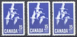 Canada Sc# 415 MH Lot/3 1963 15c Ultramarine Canada Goose - Neufs