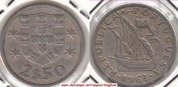Portogallo 2.50 Escudos 1963 KM#590 - Used - Portogallo