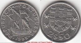 Portogallo 2.50 Escudos 1985 KM#590 - Used - Portogallo