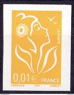 VARIETE N°3731 MARIANNE DE LAMOUCHE  0,01 JAUNE TYPE II NON DENTELE  LUXE**