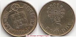 Portogallo 5 Escudos 1987 KM#632 - Used - Portogallo