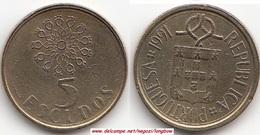 Portogallo 5 Escudos 1991 KM#632 - Used - Portogallo