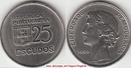 Portogallo 25 Escudos 1980 KM#607a - Used - Portogallo
