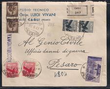 RACCOMANDATA DA CAGLIA PESARO - 30.5.194. - 1946-.. République
