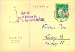 """1952, Karte Mit 12 Pfg. Wintersport Und Propagandastempel """"""""Helft Mit Am Gelingen Des IV. Parlaments Der FDJI. Marke Etw - DDR"""