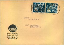 1951, 2-mal 12 Pfg. Frieden Auf Brief Mit Sonderstempel Zu Den Weltfestspielen. - DDR