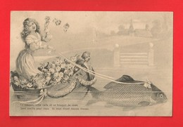 1er Avril - Femme, Roses Et Poisson - Divisé/circulé - (G209) - - 1er Avril - Poisson D'avril