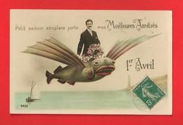 1er Avril - Homme Et Fleurs Sur Poisson Volant - Divisé/circulé - (G210) - - 1er Avril - Poisson D'avril