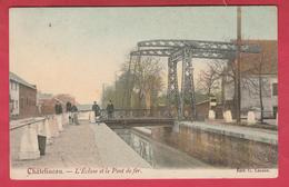 Châtelineau - L'Ecluse Et Le Pont De Fer ... Superbe Carte Couleur - 1908 ( Voir Verso ) - Châtelet