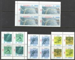 Canada Sc# 1077 (/1198) MNH Blocks/4 Set/8 1987-1988 34c-74c 1988 Olympics - Unused Stamps