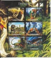 Cameroon  2016  Dinosaurs  6v  MNH  Imperf   Prehistoric Animals Souvenir Sheet  #  75871