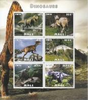 MALI  2016  Dinosaurs  6v  MNH  Imperf   Prehistoric Animals Souvenir Sheet    #  75878