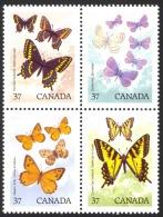 Canada Sc# 1213a MNH Block/4 1988 37c Butterflies - 1952-.... Règne D'Elizabeth II
