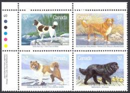 Canada Sc# 1220a MNH PB UL 1988 37c Dogs - 1952-.... Règne D'Elizabeth II