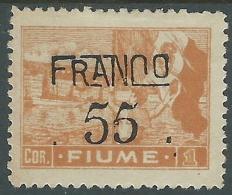 1919 FIUME FRANCO 55 SU 1 COR CARTA C MH * - P60-2 - 8. Occupazione 1a Guerra