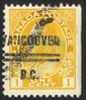 Canada Precancel Sc# 1-105 (Vancouver) Used 1911-1931 1c KGV Admirals - Kanada