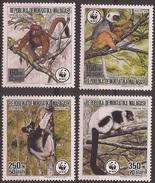 MADAGASCAR 1988 Y&T 841 à 844 Neufs ** Les Lémurs De Madagascar - WWF - W.W.F.