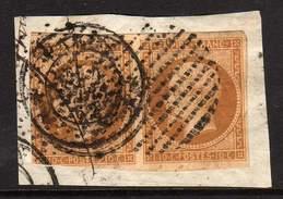 PAIRE YT 13 B OBLITERATION CAD PARIS 13 MARS 1862 ET CERCLE DE POINTS  - SUR FRAGMENT -
