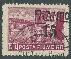 1919 FIUME USATO POSTA FIUME FRANCO 60 SU 15 CENT VARIETà - P58-6 - Occupation 1ère Guerre Mondiale