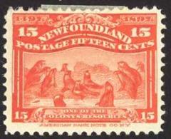 Canada Newfoundland Sc# 70 MH 1897 15c Seals - Newfoundland