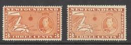 Canada Newfoundland Sc# 234-234a MNH 1937 3c Long Coronation Issue Dies I & II - 1908-1947