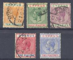Cyprus Sc# 61a-65 Used 1912 10pa-2pi KGV Definitives - Cyprus (...-1960)