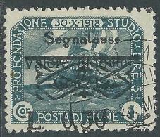 1921 FIUME USATO SEGNATASSE VALORE GLOBLALE 30 CENT SU 1 COR - P58-9 - Occupation 1ère Guerre Mondiale