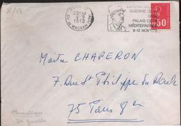 """Lettre Paris 17 6-9 1972  Flamme O= """" .....Expo-De Gaulle Guerre 39-45......"""""""
