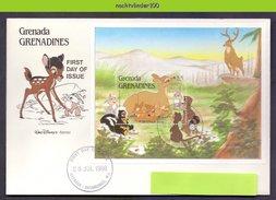 Ncs1892b WALT DISNEY BAMBI HERT WASBEER STINKDIER KONIJN DEER RABBIT RACCOON SKUNK GRENADA GRENADINES 1988 FDC - Disney