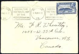 Gibraltar Sc# 99 Used On Cover 1933 3p KGVI Rock Of Gibraltar - Gibraltar