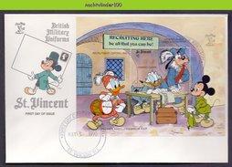 Ncs3572b WALT DISNEY GOOFY MICKEY DONALD RECRUITMENT OSFORD 1643 ONE PENNY BLACK DRUMMER CLERK ST. VINCENT 1990 FDC - Disney