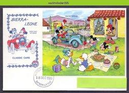 Ncs4062b WALT DISNEY MICKEY MINNIE DONALD DAISY PICKNICK TURKEY AUTO CLASSIC CAR FIAT CHRISTMAS SIERRA LEONE 1989 FDC - Disney
